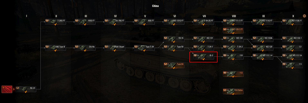 The IS-2 in the Chinese Tech Tree