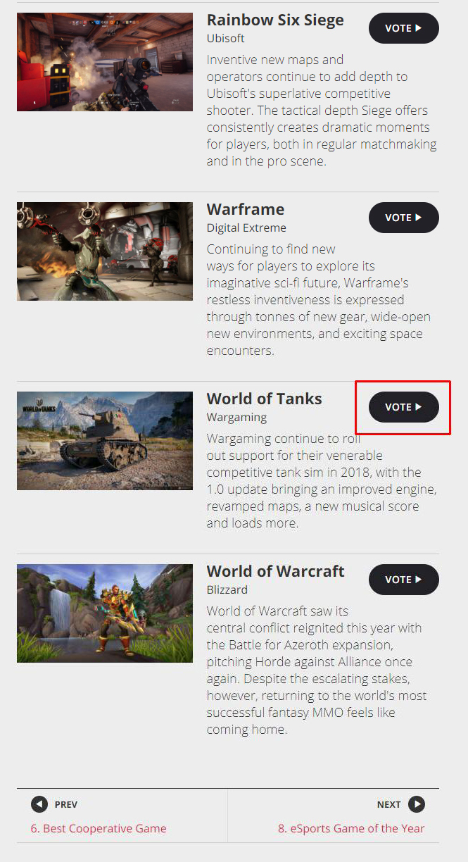 Vote in the Golden Joystick Awards! | Announcements | World of Tanks